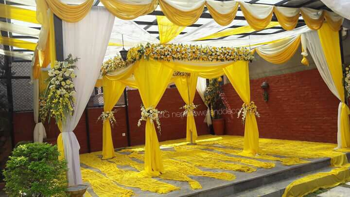 Yellow theme mandap flower decoration on nepal wedding on nepal yellow theme mandap flower decoration on nepal junglespirit Image collections