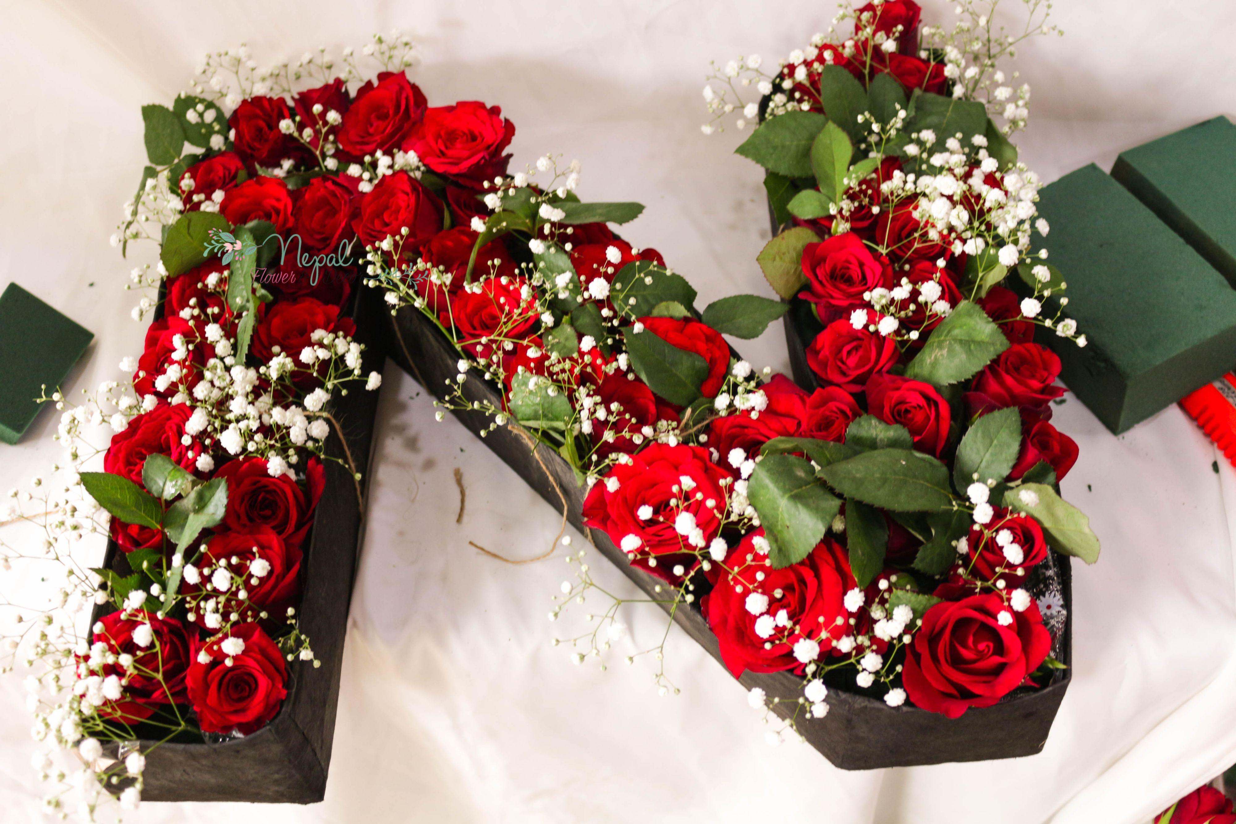 N Rose letter flower box   Buy rose on Nepal   Flower Rose on Nepal